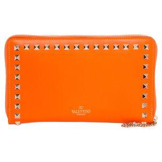 Valentino 'Rockstud' Orange Leather Zip-around Wallet $549.99