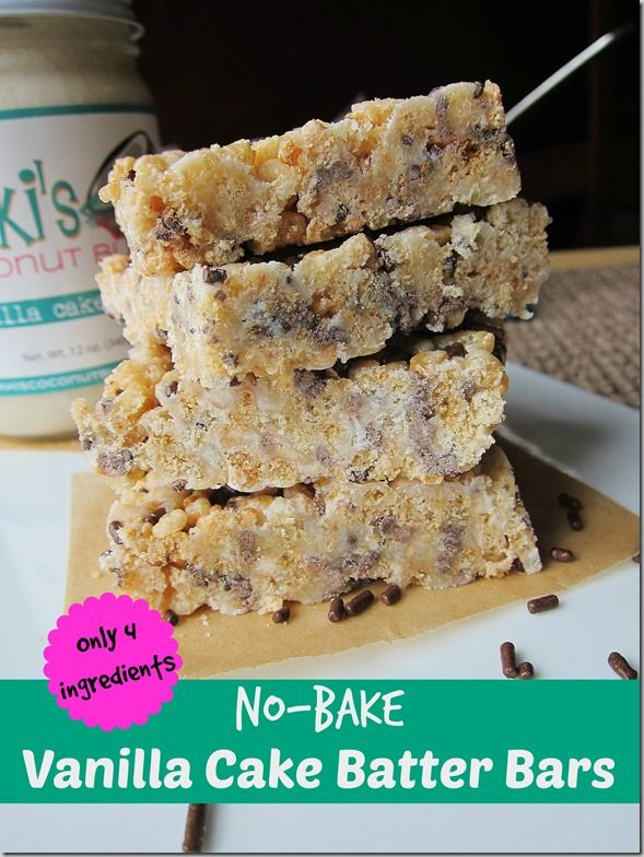 No-Bake Vanilla Cake Batter Bars - Carrots N Cake