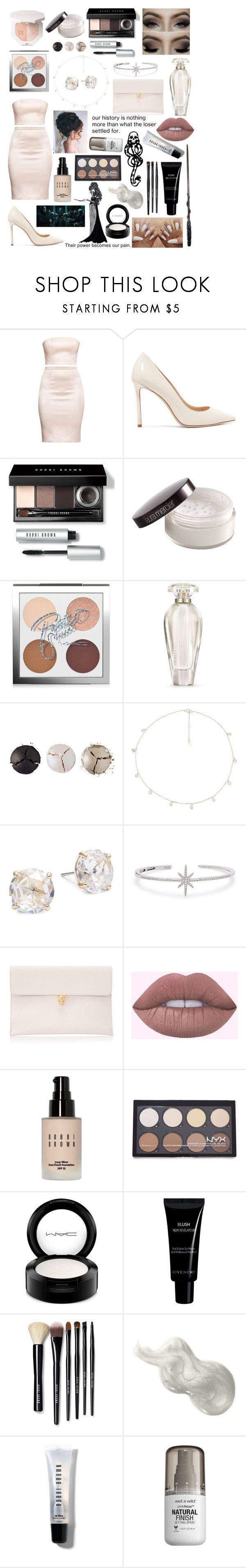 """unknowingly"" by aurorose ❤ liked on Polyvore featuring Jimmy Choo, Bobbi Brown Cosmetics, Laura Mercier, MAC Cosmetics, Victoria's Secret, Pat McGrath, The M Jewelers NY, Kate Spade, APM Monaco and Alexander McQueen"
