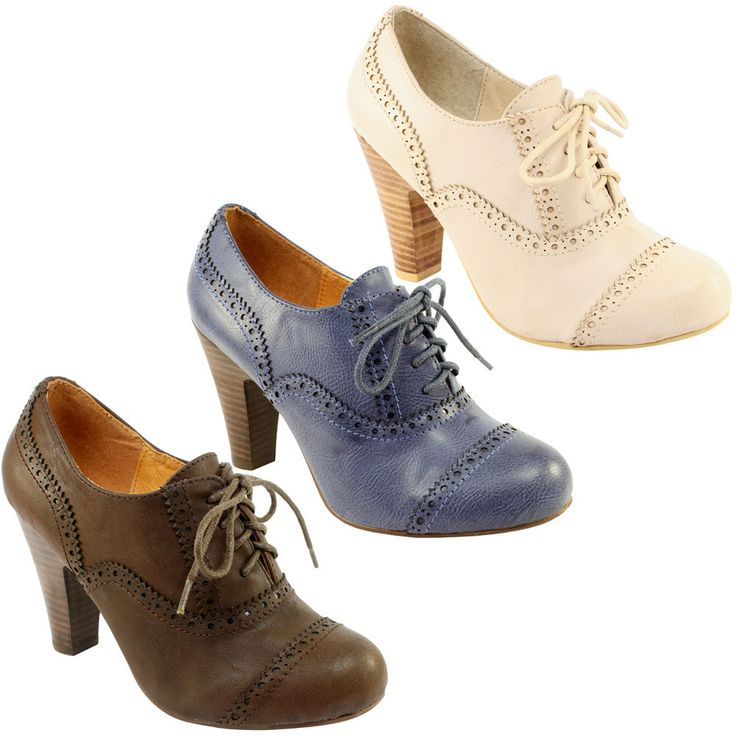 Heeled brogues (blue very nice to go with black chinos and white blouse. Casuals up the outfit, making it multi-purpose, yet still smart enough for lectures/work)