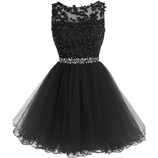 Tideclothes Short Beaded Prom Dress Tulle Applique Homecoming ($90) ❤ liked on Polyvore featuring dresses, prom homecoming dresses, short beaded dress, tulle dress, beading dress and short length dresses