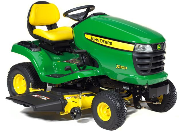 my new toy, the John Deere X300. I'm going to let Johnny think I bought it for him. Ours has the high, comfy seat.
