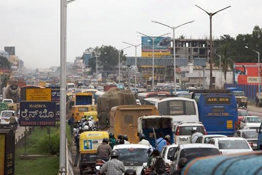 Bangalore's traffic jam. Looks like the street heading to TVS factory.