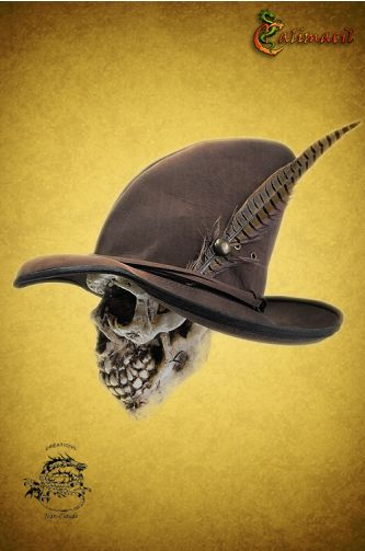 Wizard leather hat (Brown) for LARP - The pointed hat always was associated with witchcraft and sorcery. However, this sturdy variant can be worn by any character wishing to be protected against the rain, like highwaymen, alchemists on the run and druids. It is also elegant enough to be worn during a meeting with the local lord, or by the lord himself!