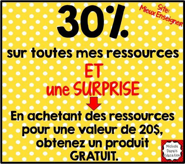 Mieux Enseigner aura une promotion de deux jours les 22 et 23 février 2015. Pendant cette promotion, toutes mes ressources seront en promotion de 30%.