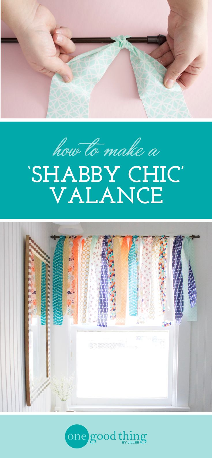 "Learn how to use ""jelly roll"" fabric strips to make a light and airy window valance in under 10 minutes. Shabby chic was never easier!"