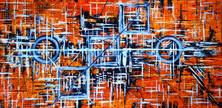 "De Flo Nr.202.Abstracta painting [My Beautiful Car]- D-[100x50] Pictura abstracta lucrari originale De Flo ""The painting has a life of its own. I try to let it come through""     -Jackson Pollock-"
