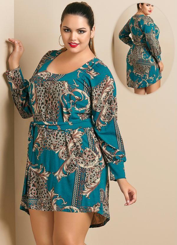 Vestido Estampa de Lenço Mullet Plus Size - Quintess                                                                                                                                                     Mais