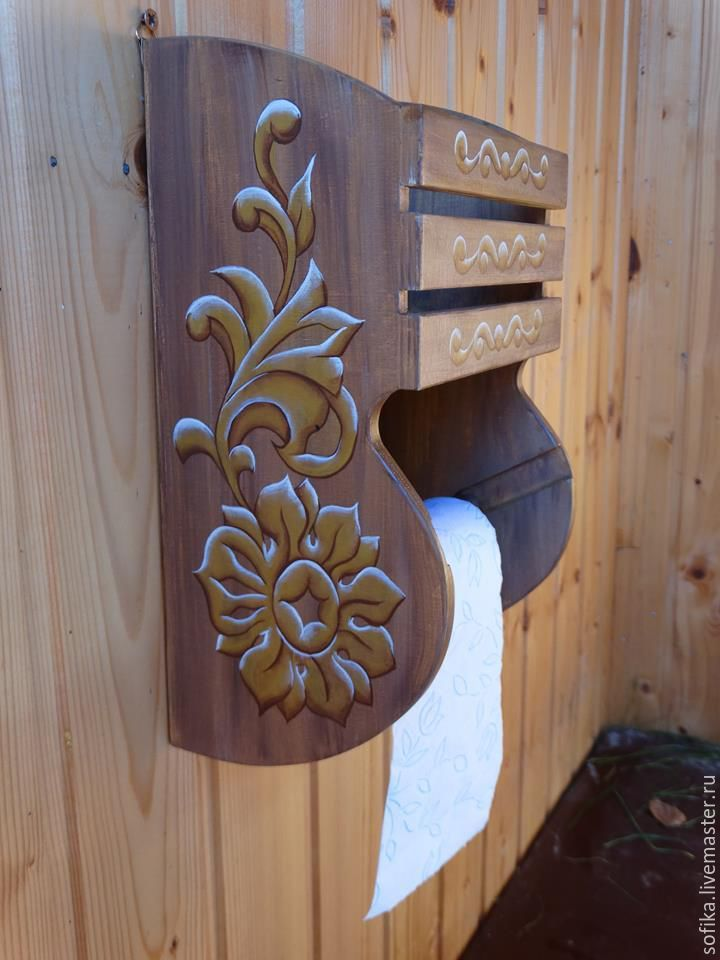 Купить Держатель для туалетной бумаги - Имитация дерева, резьба по дереву, ручная работа, ручная роспись