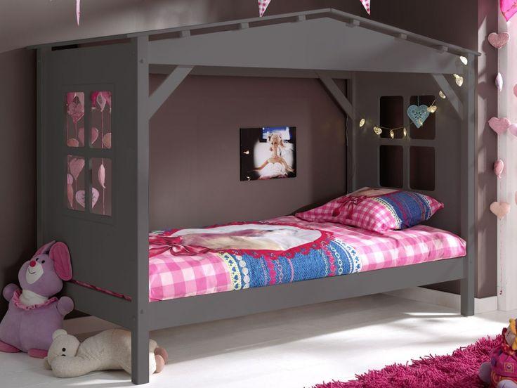 Huis bed ALIZE 90x200 cm grijze pijnboom | Mobistoxx | Meubels online | bureau, inkom, kinderkamer, slaapkamer, keuken, eetkamer, salon, zitbanken, relaxfauteuils en badkamer