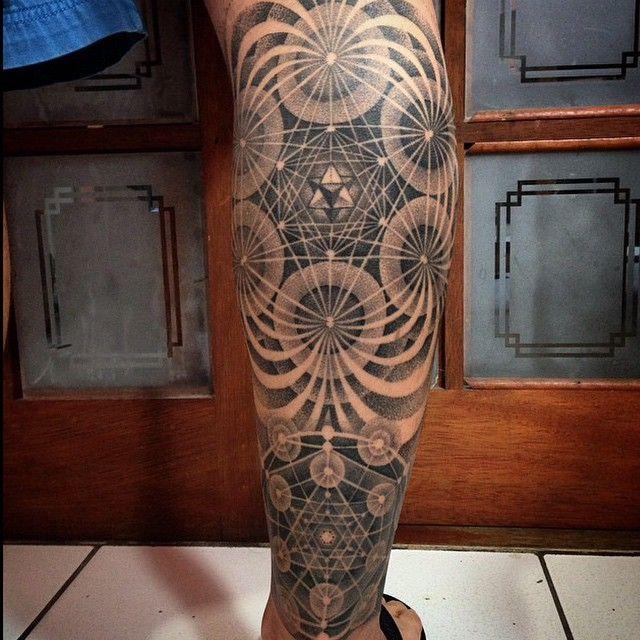 Awakened spirituality, sacred geometry tattoo inked by BlackWorkers Tattoo.  Studio is located in Halle, Saxony-Anhalt Germany.