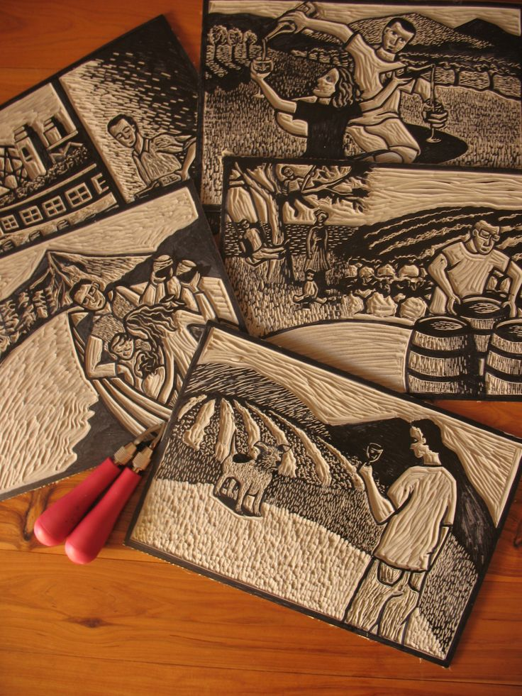 These are lino blocks I carved for a series of wine labels for Jack Russell Wine Company