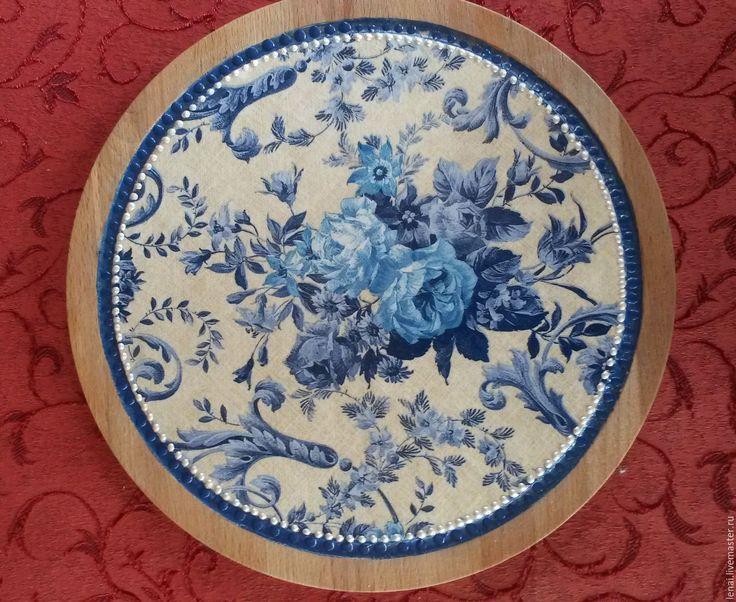 """Купить Комплект для кухни """" Голубые цветы"""" - васильковый, белый, голубой, доска разделочная"""