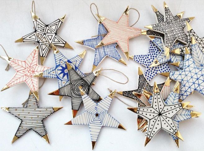 Suzanne Sullivan Ceramics star ornaments.