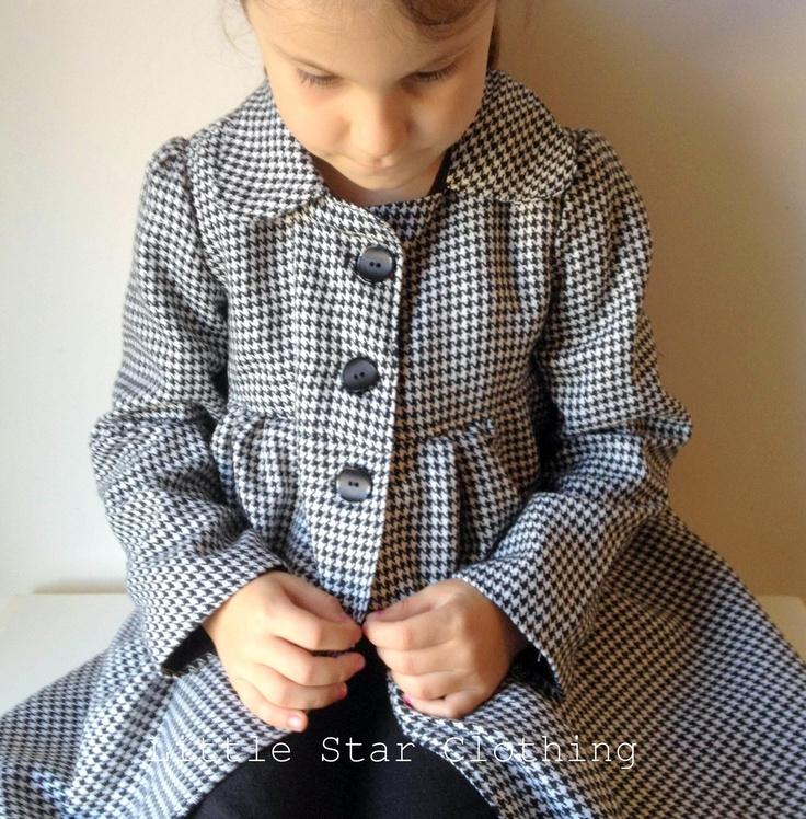 Girls coat - tweed houndstooth