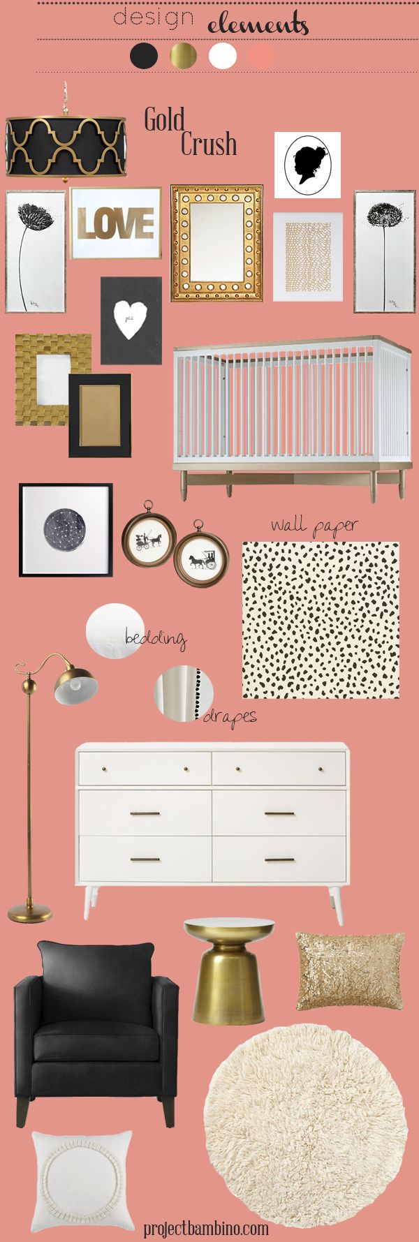 gold crush nursery design board for those of you who love gold! Check out PB for all the resources.