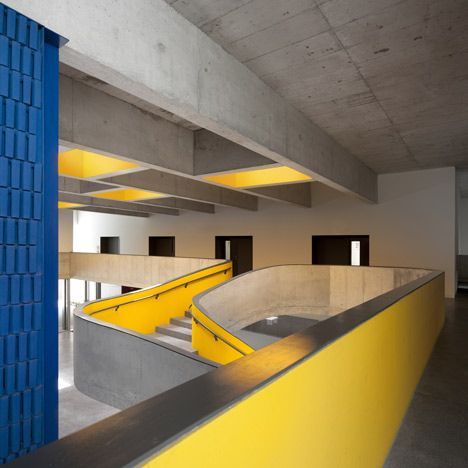 Braamcamp Freire Secondary School  by CVDB Arquitectos. Modernist reference with primary colors.
