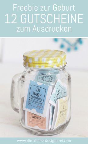 Freebie zum Ausdrucken, eine schnelle Geschenkidee zur Geburt: 12 unterschiedliche Gutscheine für frischgebackene Eltern. Download nach Anmeldung auf www.die-kleine-designerei.com
