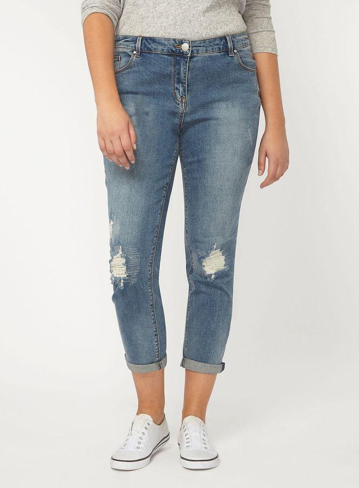 Ripped Sparkle Boyfriend Jeans