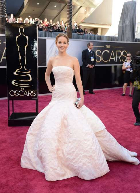Jennifer Lawrence at The Academy Awards, 2013. The dress of the famous fall.