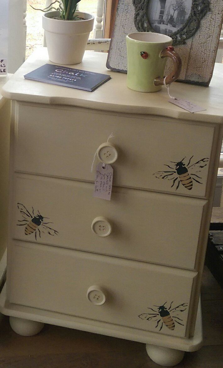 Cream Bedside Table using our Bee stencil and some gold leaf detailing