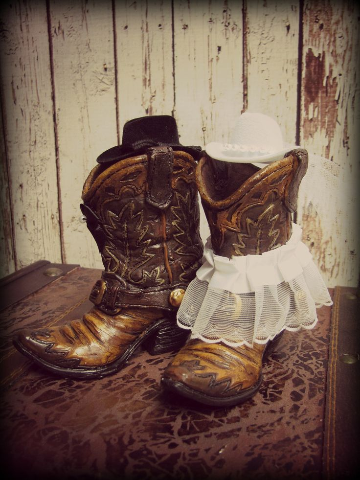 "Western Cowboy Boots Wedding Cake Topper-Western Themed Wedding-Cowboy Boots 4""tall and 3.5"" from heel to toe. $42.00, via Etsy."