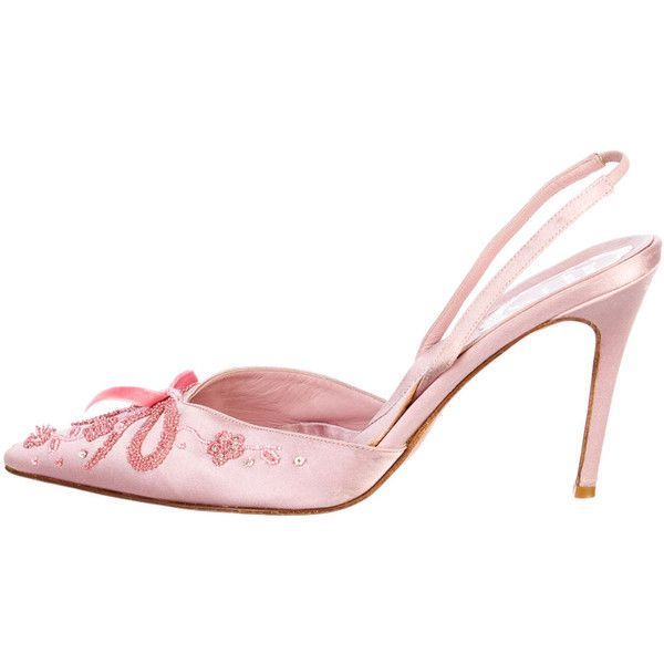 Pre-owned Rene Caovilla Slingback Pumps (€105) ❤ liked on Polyvore featuring shoes, pumps, pink, satin pumps, beaded shoes, sling back shoes, slingback pumps and pink shoes
