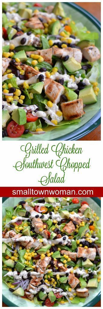 This beautiful Grilled Chicken Southwest Chopped Salad is loaded full of protein and veggies.  It combines chicken, romaine and spinach, black beans, tomatoes, corn, avocado and chipotle ranch into a flavor packed treat that your body can appreciate.