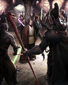 Jacen, Jaina, and Anakin Solo go behind Yuuzhan Vong enemy lines - Star Wars art by David Tan