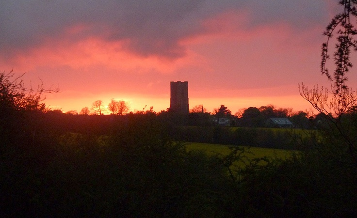 The sun setting from Stone Farm , Lavenham