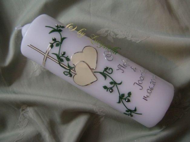 Hochzeitskerze Hochzeitskerze Herz Kreuz Perlen creme grün silber