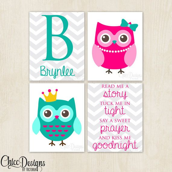 Owl Bedroom Set Little Girls Room Wall Art Name by ChiccDesigns