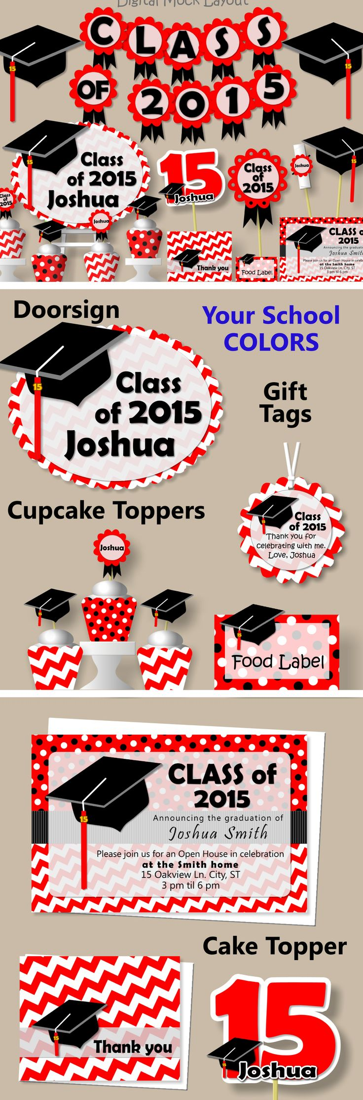 Graduation Party Decoration with Your School Colors - Banner, Sign, Invites, Favor Tags, Cake Toppers, Thank You Cards #bcpaperdesigns