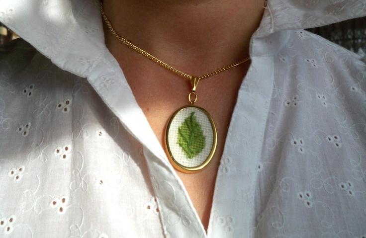 A New Leaf Needlepoint Pendant Necklace. $20.00, via Etsy.
