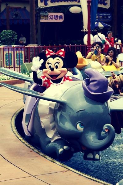 Minnie Mouse on Dumbo the Flying Elephant. Disneyland Park. Disneyland Resort, Anaheim, CA
