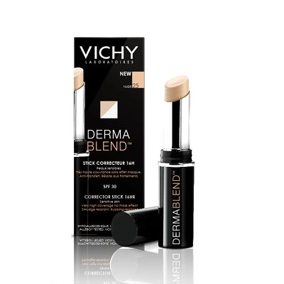Very high coverage, great as concealer. A tip by Lisa Eldridge.  Vichy Dermablend Corrective Stick Foundation 4.5g