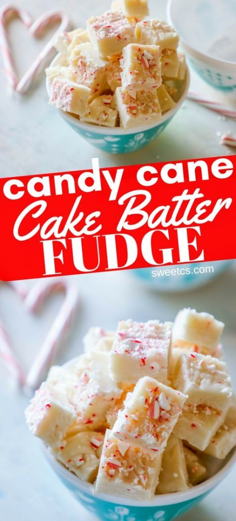 Candy Cane Cake Batter Microwave Fudge