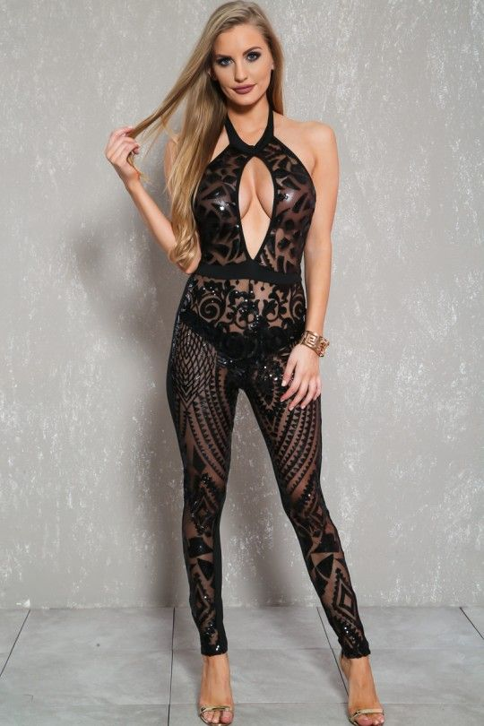 26a3bd2417f Sexy Black Sequin Sheer Cut Out Sleeveless Dressy Jumpsuit Jumpsuit Dressy