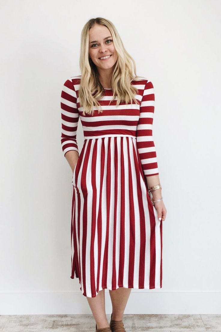 Caraway Stripe Dress in Crimson | ROOLEE