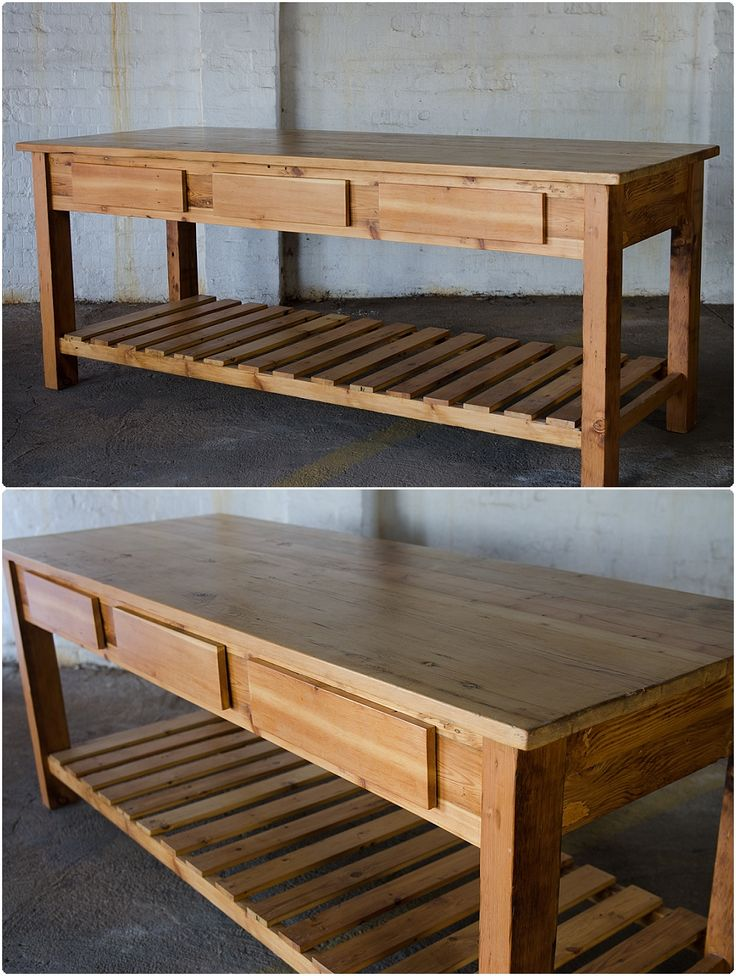 SOLD! #NorthcliffAntiques Large server built from reclaimed wood; three drawers above a slated shelf made from a combination of reclaimed wood including origon pine. #Johannesburg #Kitchen #Furniture #Island #Server