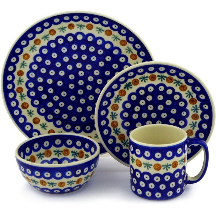 Mosquito Polish Pottery 4 Piece Place Setting, Service for 1
