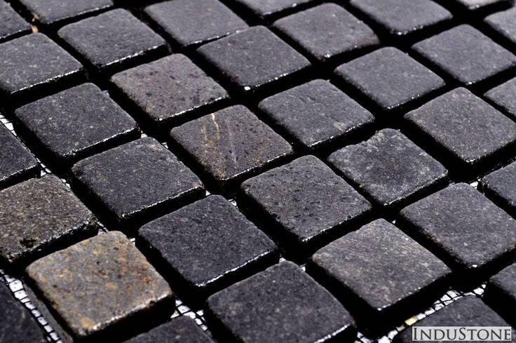 Kostka andezyt 3x3 BLACK mozaika kamienna na siatce INDUSTONE