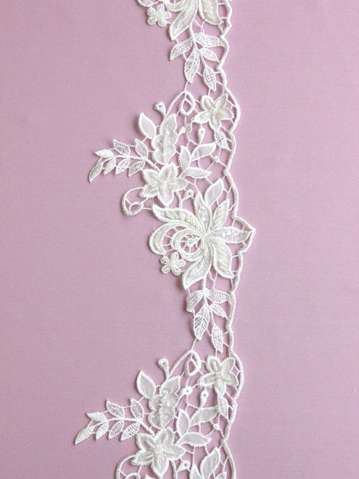 Ivory Embroidered Lace Trim with Beading - Kimberley