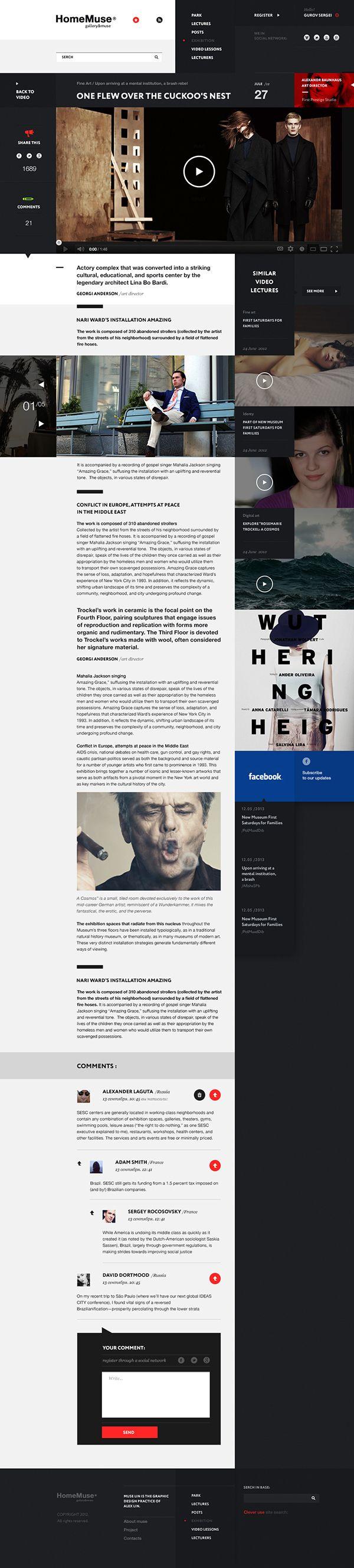 web design HomeMuse Gallery on Behance