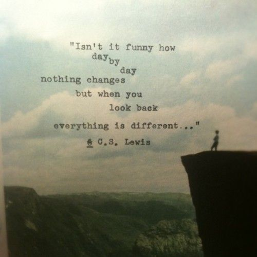 """""""Isn't it funny how day by day,nothing changes but when you look back everything is different...""""C.S. Lewis"""