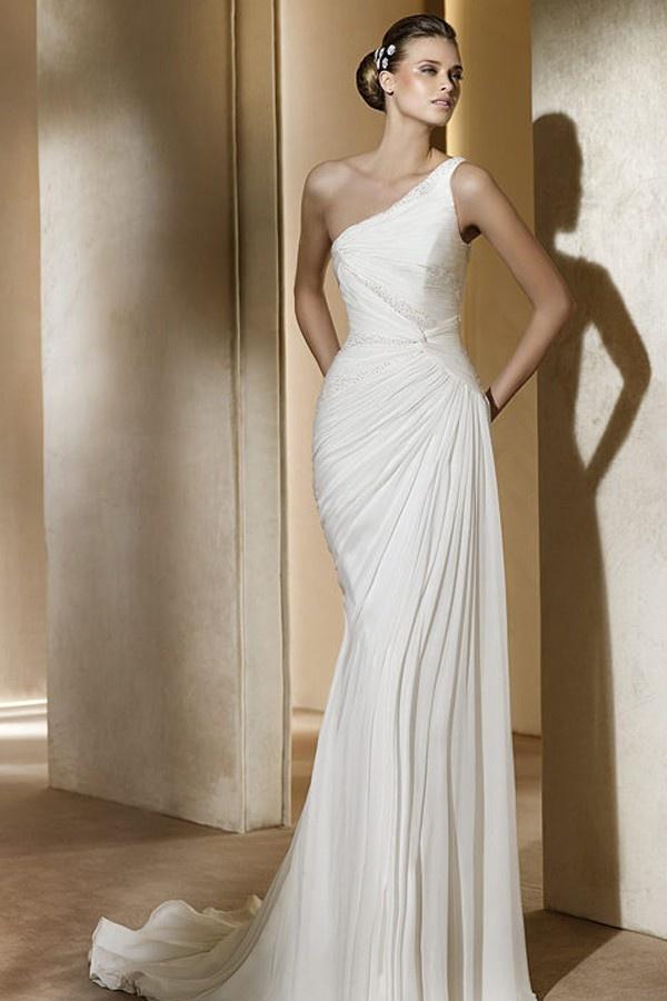 Pronovias One Shoulder Wedding Dresses - Style Acuarela