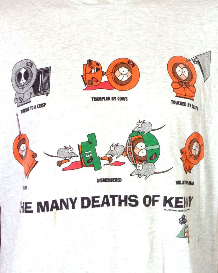 vtg 90s South Park T-Shirt 1996 Comedy Central The Many Deaths of Kenny sz XL