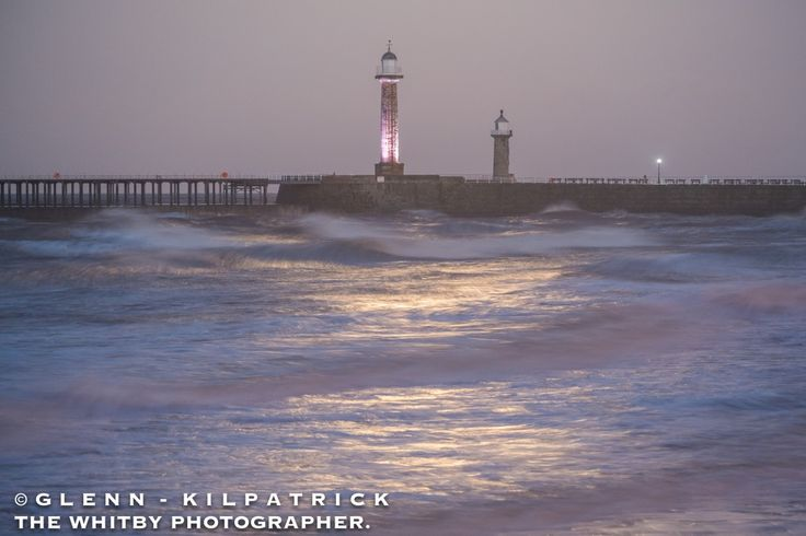 Whitby Piers - Rough Seas And Moonlight