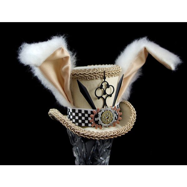 White Rabbit Beige and Black Steampunk Small Mini Top Hat Fascinator,... ($55) ❤ liked on Polyvore featuring accessories, hats, tea party hats, rabbit fur hat, black fascinator hat, black bowler hat and miniature top hats