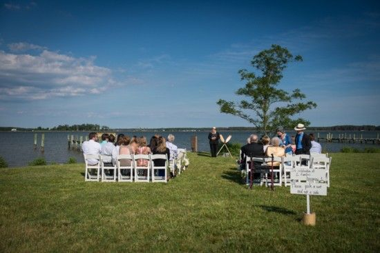ceremony same sex waterfront wedding Maryland Voula Trip Photography 550x367 Intimate DIY Waterfront Wedding Ceremony in Maryland: Jennifer + Burke